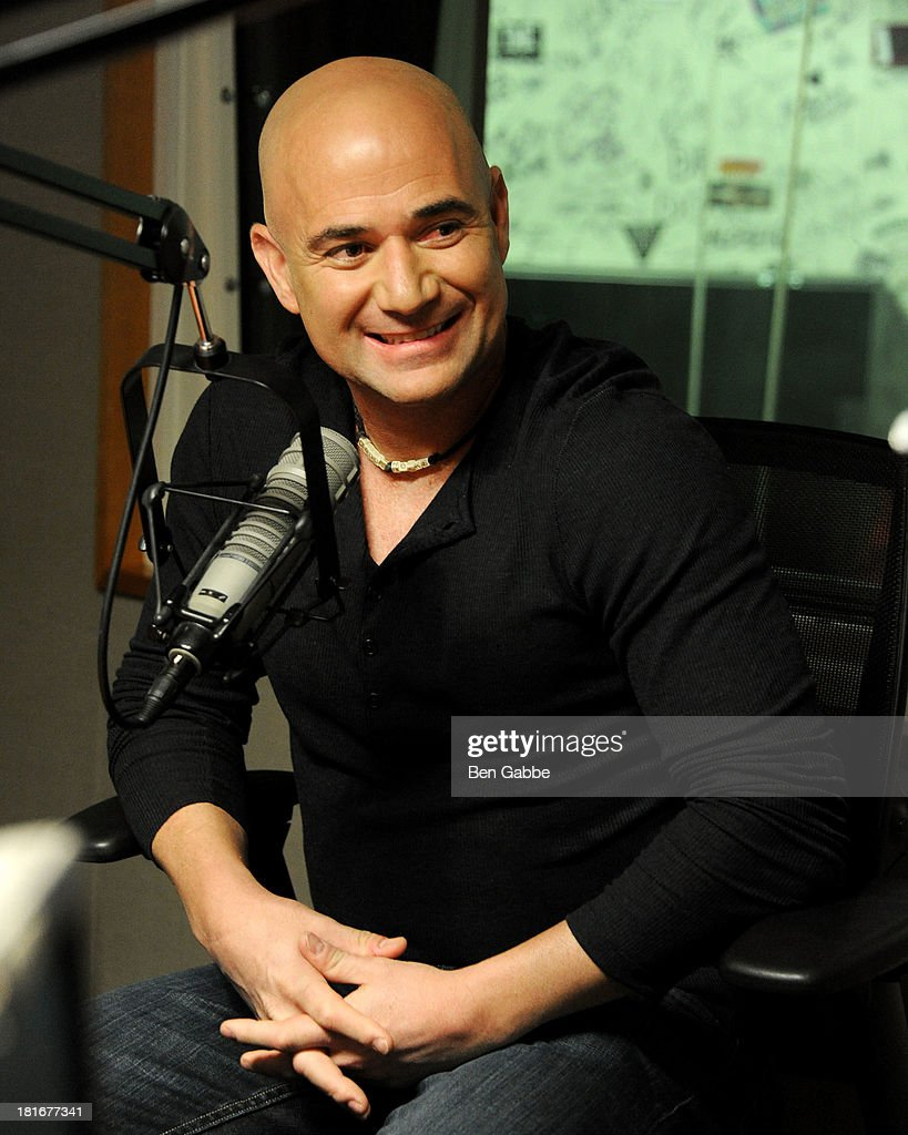 Former professional tennis player <a gi-track='captionPersonalityLinkClicked' href=/galleries/search?phrase=Andre+Agassi&family=editorial&specificpeople=157607 ng-click='$event.stopPropagation()'>Andre Agassi</a> visits SiriusXM Studios on September 23, 2013 in New York City.