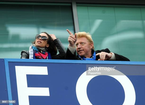 Former professional tennis player Boris Becker and his wife Lilly watch from a private box during the FA Cup 6th Round match between Chelsea and...