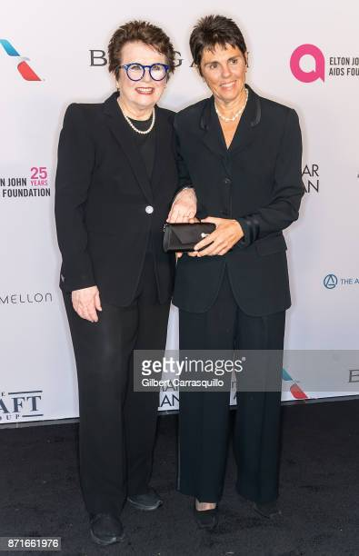 Former professional tennis players Billie Jean King and Ilana Kloss attend as the Elton John AIDS Foundation commemorates its 25th year and honors...