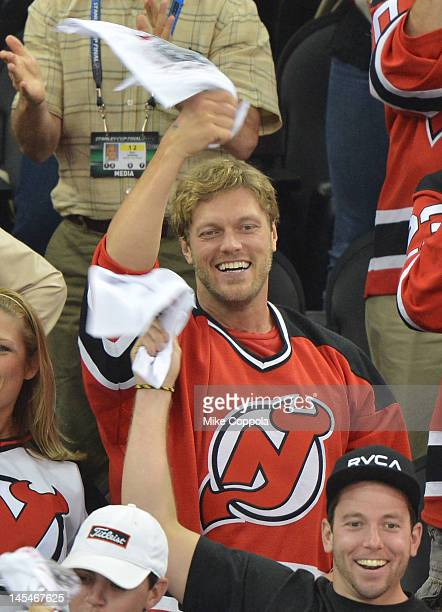 Former professional wrestler Adam 'the Edge' Copeland attends the Los Angeles Kings vs the New Jersey Devils game one during the 2012 Stanley Cup...