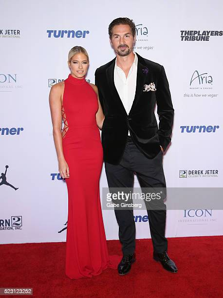 Former professional wrestler and model Barbie Blank Souray and her husband former NHL player Sheldon Souray attend the Derek Jeter Celebrity...