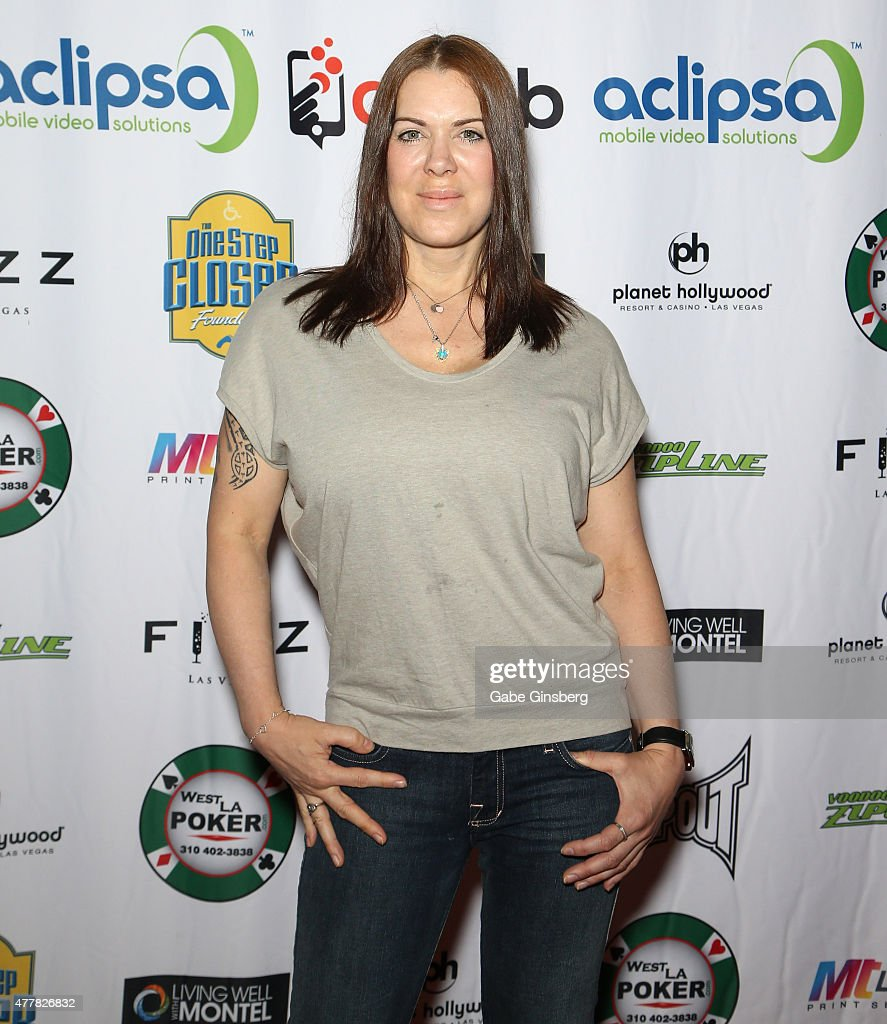 Former professional wrestler Joanie 'Chyna' Laurer attends the Raising the Stakes for Cerebral Palsy Celebrity Poker Tournament at Planet Hollywood...