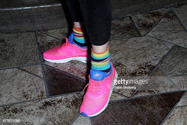 Former professional wrestler Joanie 'Chyna' Laurer shoes detail attends One Step Closer Foundation's event at the VooDoo Zip Line at the Rio Hotel...