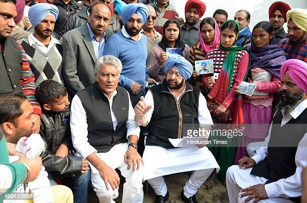 Former Punjab Chief Minister and Congress leader Captain Amarinder Singh and Sunil Jakhar Punjab Congress Legislature Party leader meets relatives of...