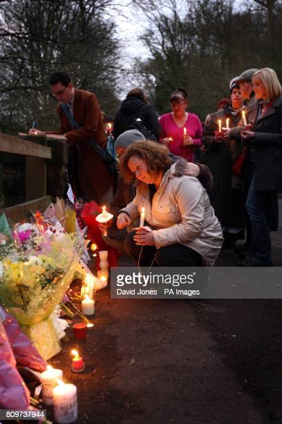 Former pupils and friends of murder victim Betty Yates 77 attend a candlit vigil in her memory near her home in Bewdley in Worcestershire