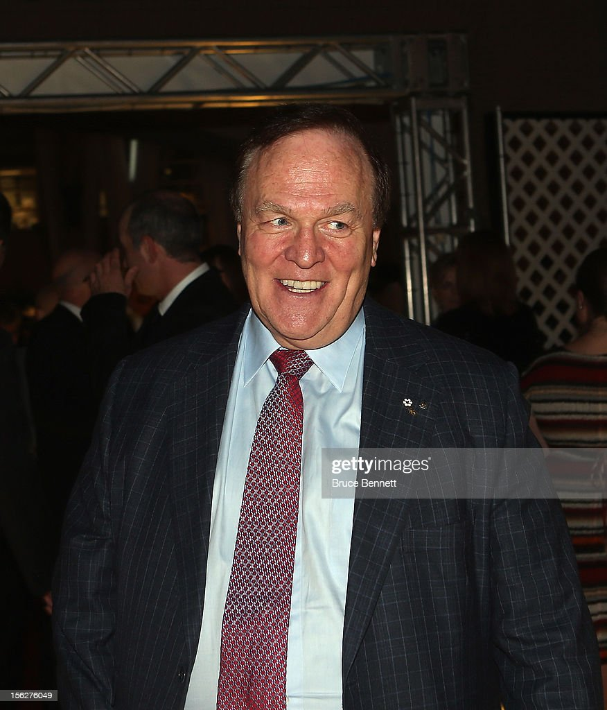 Former Quebec Nordiques owner Marcel Aubut arrives for the Hockey Hall of Fame induction ceremony at Brookfield Place on November 12, 2012 in Toronto, Canada.