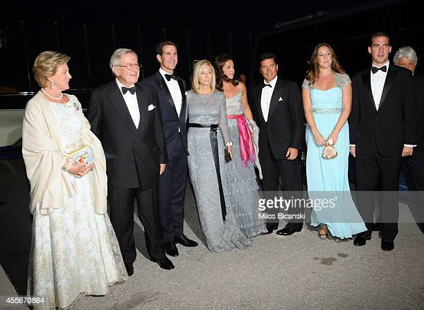 Former Queen AnneMarie of Greece former King Constantine II of Greece Crown Prince Pavlos of Greece Crown Princess MarieChantal of Greece Princess...