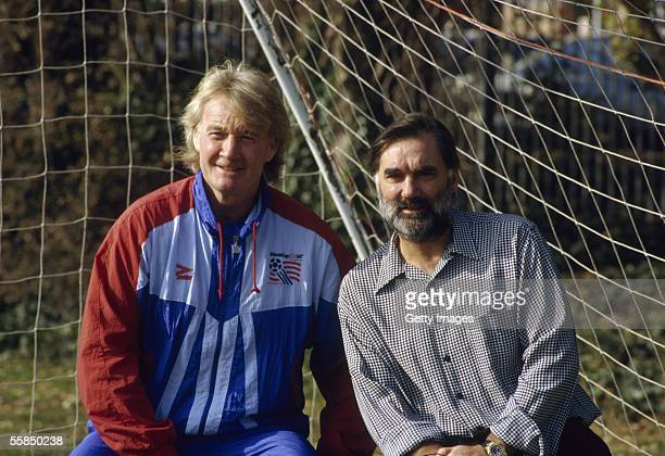 Former Queens Park Rangers star Rodney Marsh and Manchester United star George Best pose during a Photo Call held in 1994 in London England