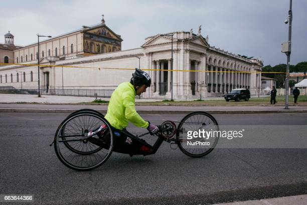 Former racing driver and paracyclist Italian Alex Zanardi takes part in the 23rd Marathon of Rome on April 2 2017 in Rome