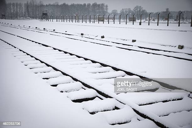 A former rail track is covered with snow at the memorial site of the former Nazi concentration camp AuschwitzBirkenau in Oswiecim Poland are pictured...