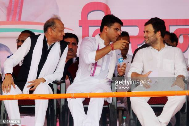 Former Rajasthan Chief Minister Ashok Ghelot with Rajasthan Congress President Sachin Pilot and India main opposition Congress Party Vice President...