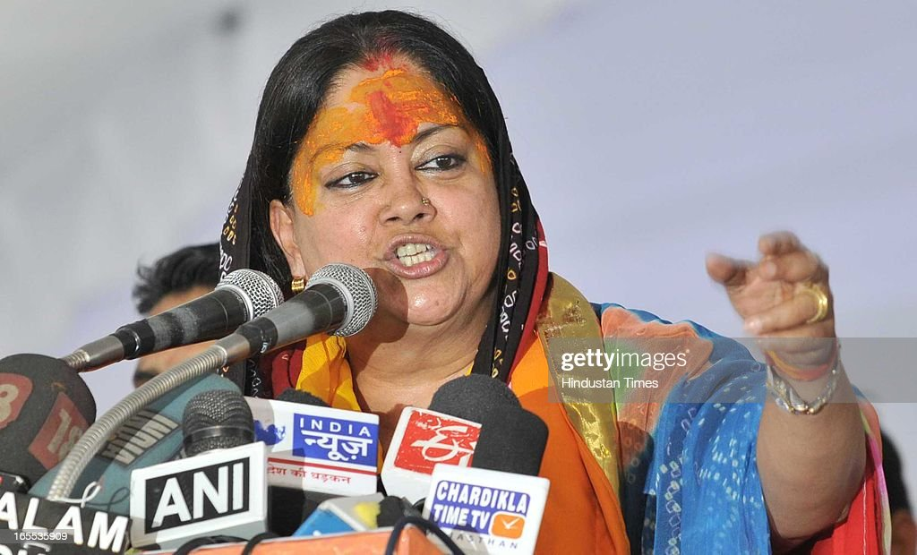 Former Rajasthan CM and state BJP president Vasundhara Raje addresses the rally at the start of Suraj Sankalp Yatra at Charbhuja village, on April 4, 2013 in Rajasamand, India. The Rajasthan assembly elections are due later this year.