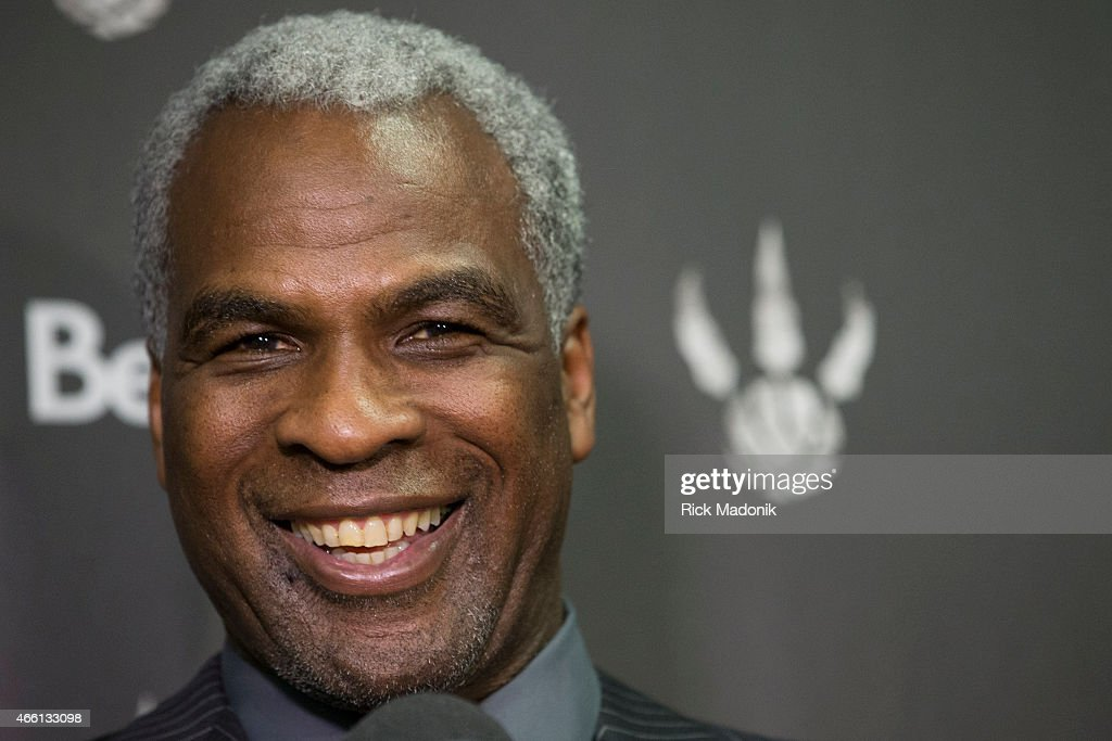 TORONTO - MARCH 13 - Former Raptor big man <a gi-track='captionPersonalityLinkClicked' href=/galleries/search?phrase=Charles+Oakley&family=editorial&specificpeople=213241 ng-click='$event.stopPropagation()'>Charles Oakley</a> is being honoured at tonight's Raptor game. Photographed on March 13, 2015.