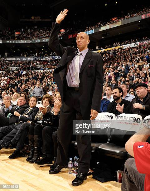 Former Raptor Doug Christie is honored during a timeout during the Toronto Raptors game against the Miami Heat on January 27 2010 at the Air Canada...