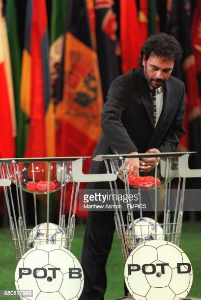 Former Real Madrid and Mexico striker Hugo Sanchez pulls out the European teams during the FIFA World Cup 2002 Preliminary Draw