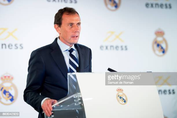 Former Real Madrid player Emilio Butragueno attends as the Real Madrid and Exness partnership presentation at Estadio Santiago Bernabeu on October 19...