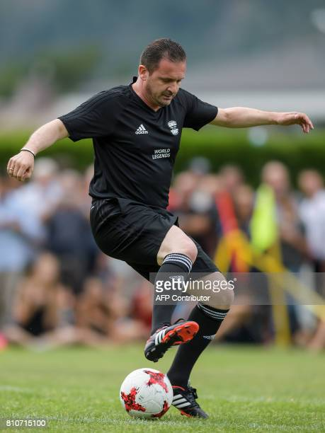 Former Real Madrid's Montenegrin football player Predrag Mijatovic controls the ball during 'The Gianni's game the match of legends' a football match...