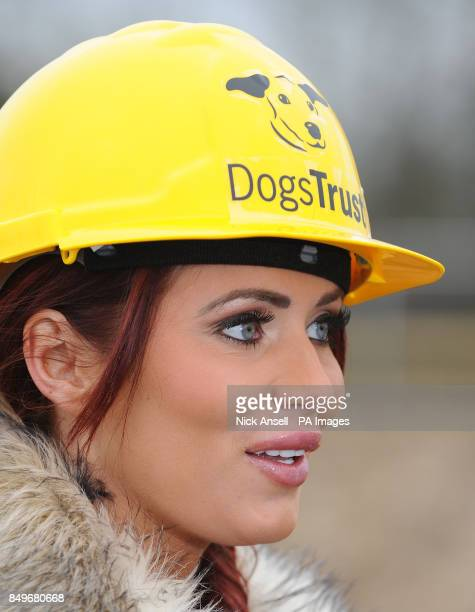 Former reality television personality Amy Childs during the 'first dig' at the new Dogs Trust Essex Rehoming Centre Nevendon Road Wickford Essex as...