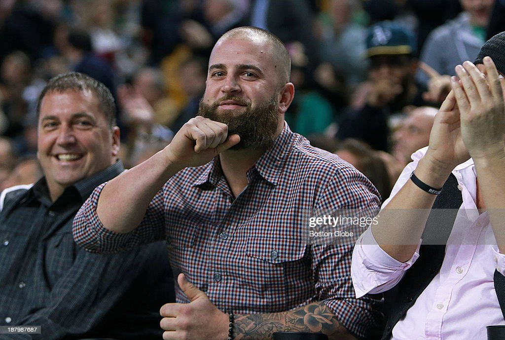 Former Red Sox fist baseman and current free agent Mike Napoli was sitting in a front row court-side seat, and when he was shown on the video scoreboard, he acknowledged the cheers of the crowd by tugging on his trademark beard. The Boston Celtics hosted the Charlotte Bobcats in a regular season NBA game at TD Garden.