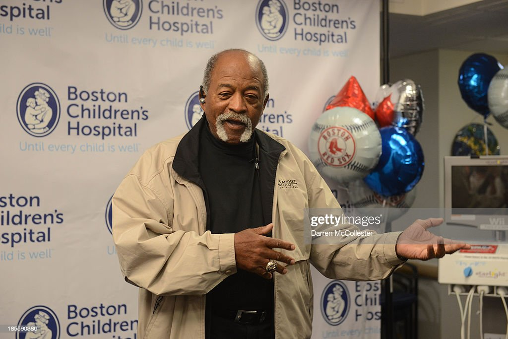 Former Red Sox great Luis Tiant, MLB, and the Boston Red Sox celebrate World Series with Boston Children's Hospital Starlight Fun Center Donation at Boston Children's Hospital on October 22, 2013 in Boston, Massachusetts.