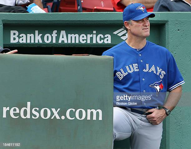 Former Red Sox pitching coach current Blue Jays manager and possible future Red Sox manager John Farrell is pictured in the visitor's dugout at...