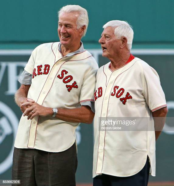 Former Red Sox players Jim Lonborg left and Carl Yastrzemski are pictured as members of the 1967 'Impossible Dream' team are honored before the start...