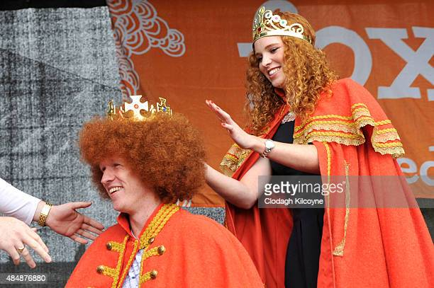 Former Redhead Queen Laura May Keohane places the crown on the new Redhead King Alan Reidy from Kerry at the Irish Redhead Convention which...