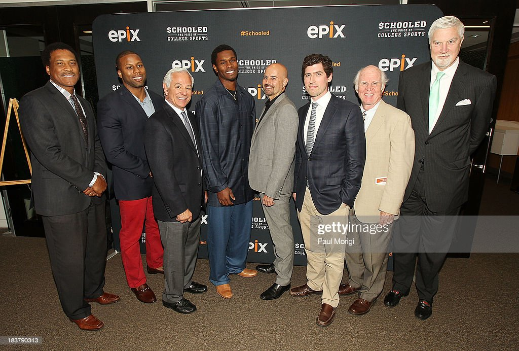 Former Redskins player Andre Collins, former UNC player Devon Ramsay, former MLB Manager <a gi-track='captionPersonalityLinkClicked' href=/galleries/search?phrase=Bobby+Valentine&family=editorial&specificpeople=214135 ng-click='$event.stopPropagation()'>Bobby Valentine</a>, former Redskins player Darnerien McCants, Coaches Agent Dennis Cordell, producer Andrew Muscato, Author Taylor Branch and former NBA player Tom McMillen attend the EPIX screening of the original documentary 'Schooled: The Price of College Sports' at The NCTA Building on October 9, 2013 in Washington, DC.