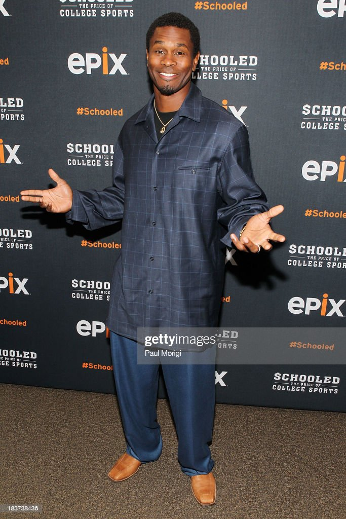 Former Redskins player Darnerien McCants attends the EPIX screening of the original documentary 'Schooled: The Price of College Sports' at The NCTA Building on October 9, 2013 in Washington, DC.