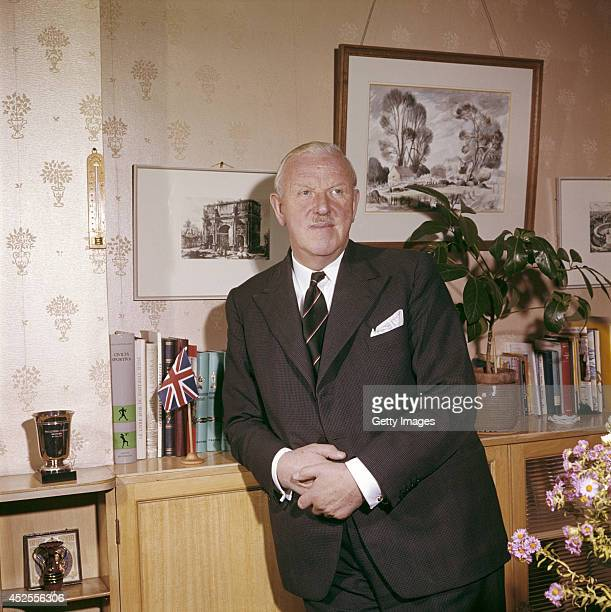 Former referee President of FIFA and secretary of the FA Sir Stanley Rous in his office circa 1960