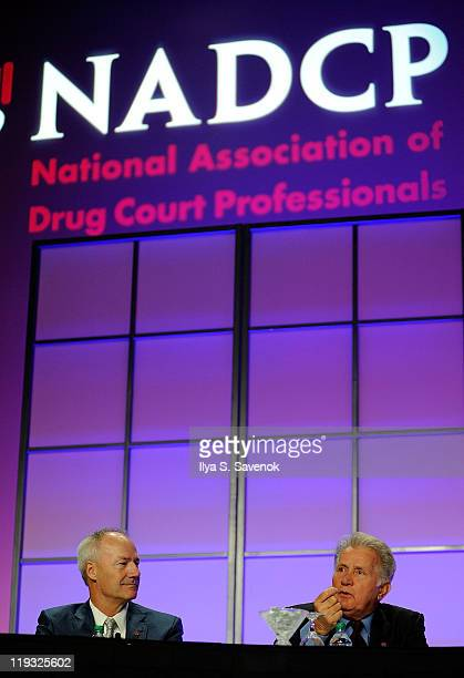 former Rep Asa Hutchinson and actor Martin Sheen speak at the 'Strange Bedfellows The Political Appeal Of Drug Courts' panel discussion during the...