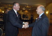 Former Rep JD Hayworth left keynote speaker at the Lincoln Day Dinner greets Rep Steve Pearce RNM at the Marriott hotel in Albuquerque NM