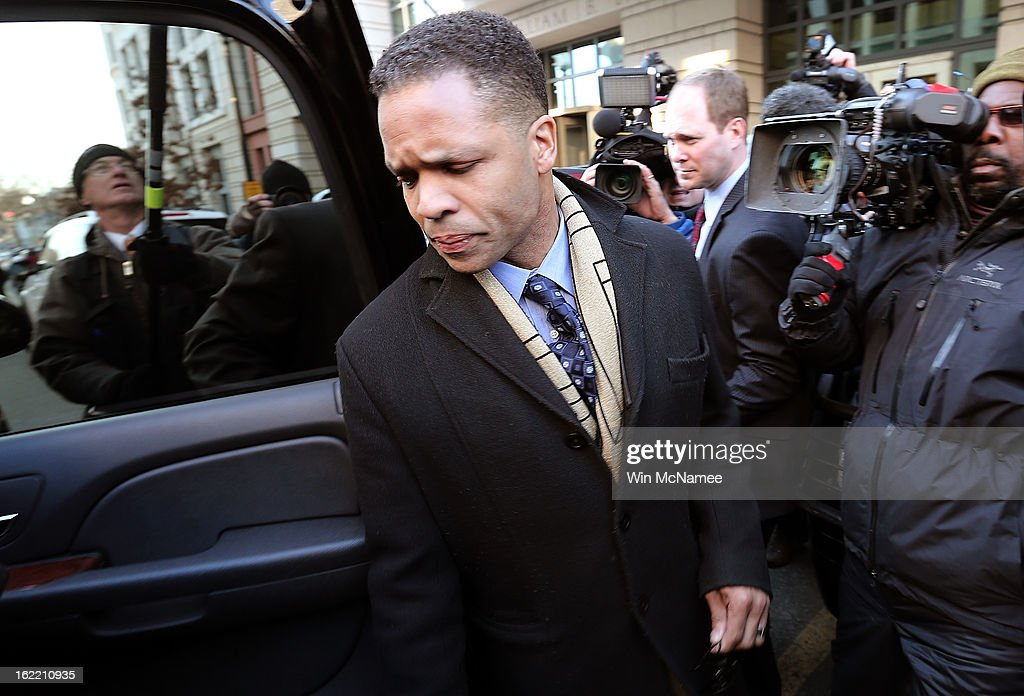 Former Rep. <a gi-track='captionPersonalityLinkClicked' href=/galleries/search?phrase=Jesse+Jackson+Jr.&family=editorial&specificpeople=1107074 ng-click='$event.stopPropagation()'>Jesse Jackson Jr.</a>, leaves U.S. District Court February 20, 2013 in Washington, DC. Jackson and his wife, Sandi Jackson, both pleaded guilty to federal charges after being accused of spending more than $750,000 in campaign funds to purchase luxury items, memorabilia and other goods.