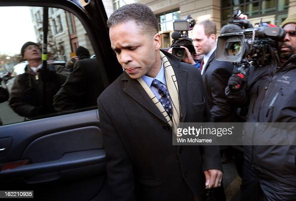 Former Rep Jesse Jackson Jr leaves US District Court February 20 2013 in Washington DC Jackson and his wife Sandi Jackson both pleaded guilty to...