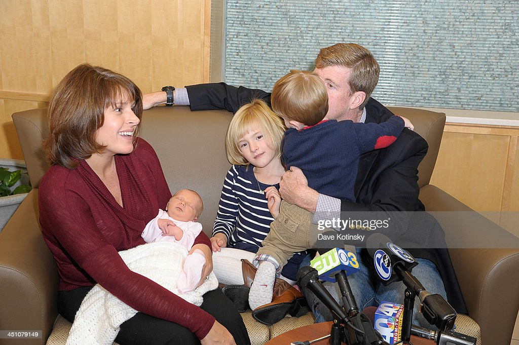 Former Rep. Patrick Kennedy, wife, Amy Petitgout Kennedy, new daughter, Nora Kara Kennedy, Owen Patrick Kennedy and Harper Petitgout depart AtlantiCare Regional Medical Center on November 21, 2013 in Pomona, New Jersey. Daughter Nora Kara Kennedy was born at 3:11pm on November 19, 2013.