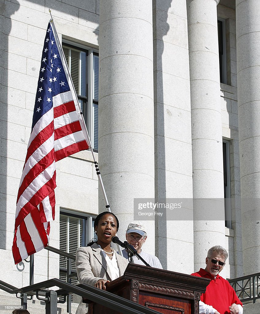 Former Republican congressional candidate from Utah, Mia Love, speaks at a gun rights rally and march at the Utah State Capitol on March 2, 2013 in Salt Lake City, Utah. The rally attracted several hundred people for the march to the Utah Capitol in favor of 2nd Amendment rights as gun control supporters call for more limits and bans on assault weapons.