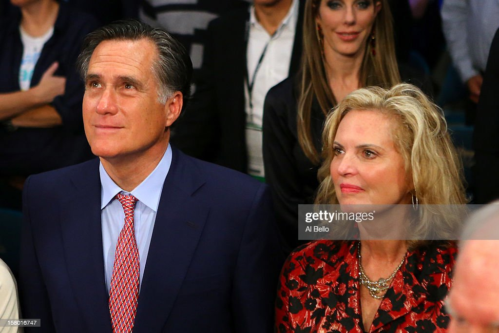 Former Republican presidential candidate and Massachusetts Gov. Mitt Romney and wife Ann Romney sit ringside before Manny Pacquiao takes on Juan Manuel Marquez in their welterweight bout at the MGM Grand Garden Arena on December 8, 2012 in Las Vegas, Nevada.