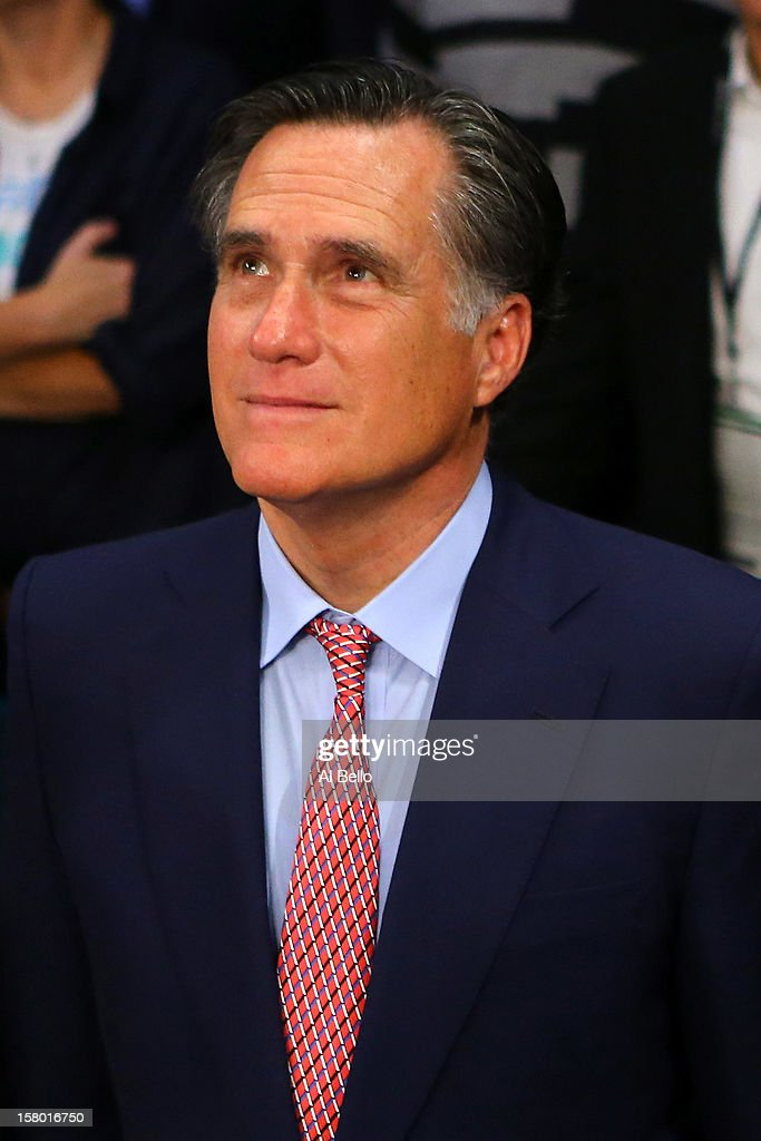 Former Republican presidential candidate and Massachusetts Gov. Mitt Romney sits ringside before Manny Pacquiao takes on Juan Manuel Marquez in their welterweight bout at the MGM Grand Garden Arena on December 8, 2012 in Las Vegas, Nevada.