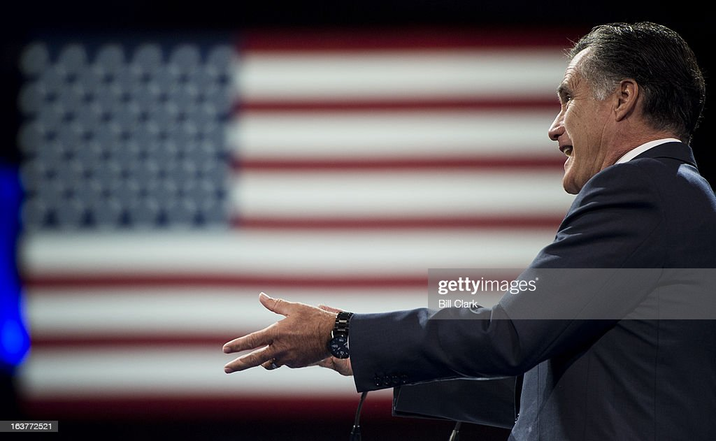 Former Republican Presidential candidate Mitt Romney speaks at the 2013 Conservative Political Action Conference at the Gaylord National Resort & Conference Center at National Harbor, Md., on Friday, March 15, 2013.