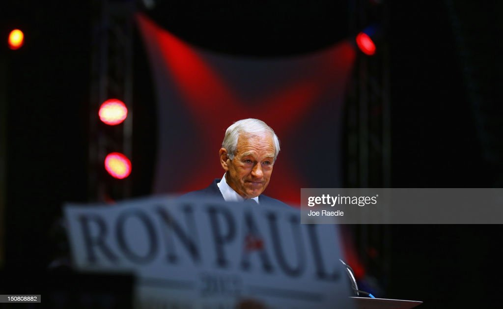 Former Republican presidential candidate U.S. Rep. <a gi-track='captionPersonalityLinkClicked' href=/galleries/search?phrase=Ron+Paul&family=editorial&specificpeople=2300665 ng-click='$event.stopPropagation()'>Ron Paul</a> (R-TX) speaks during a rally in the Sun Dome at the University of South Florida on August 26, 2012 in Tampa, Florida. The rally was being held on the eve of the start of the Republican's nominating convention which is scheduled to convene on August 27 and will hold its first session on August 28 as Tropical Storm Isaac threatens disruptions due to its proximity to the Florida.
