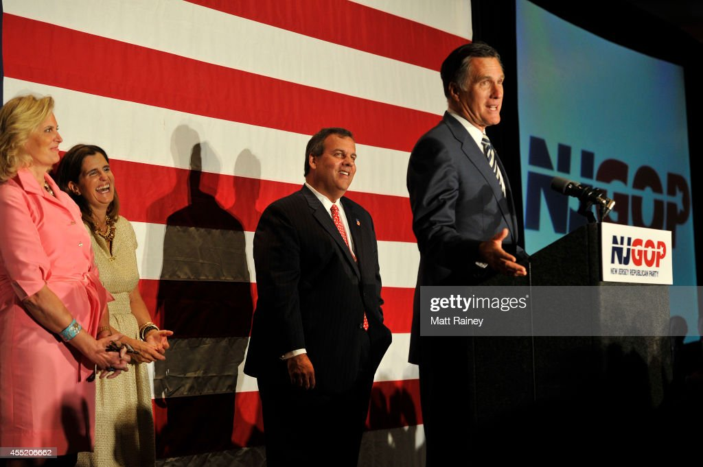 former Republican presidential contender <a gi-track='captionPersonalityLinkClicked' href=/galleries/search?phrase=Mitt+Romney&family=editorial&specificpeople=207106 ng-click='$event.stopPropagation()'>Mitt Romney</a> addresses an audience with Gov. <a gi-track='captionPersonalityLinkClicked' href=/galleries/search?phrase=Chris+Christie&family=editorial&specificpeople=6480114 ng-click='$event.stopPropagation()'>Chris Christie</a> (R-NJ) during a birthday celebration on September 10, 2014 at The Hilton in East Brunswick, NJ. <a gi-track='captionPersonalityLinkClicked' href=/galleries/search?phrase=Mary+Pat+Christie&family=editorial&specificpeople=6483321 ng-click='$event.stopPropagation()'>Mary Pat Christie</a> and <a gi-track='captionPersonalityLinkClicked' href=/galleries/search?phrase=Ann+Romney&family=editorial&specificpeople=868004 ng-click='$event.stopPropagation()'>Ann Romney</a> appeared with their husbands on stage. The event, dubbed 'Governor <a gi-track='captionPersonalityLinkClicked' href=/galleries/search?phrase=Chris+Christie&family=editorial&specificpeople=6480114 ng-click='$event.stopPropagation()'>Chris Christie</a> 52nd Birthday Celebration,' also served as a NJ-GOP fundraiser.