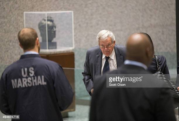 Former Republican Speaker of the House Dennis Hastert arrives at the Dirksen Federal Courthouse on October 28 2015 in Chicago Illinois Hastert was...