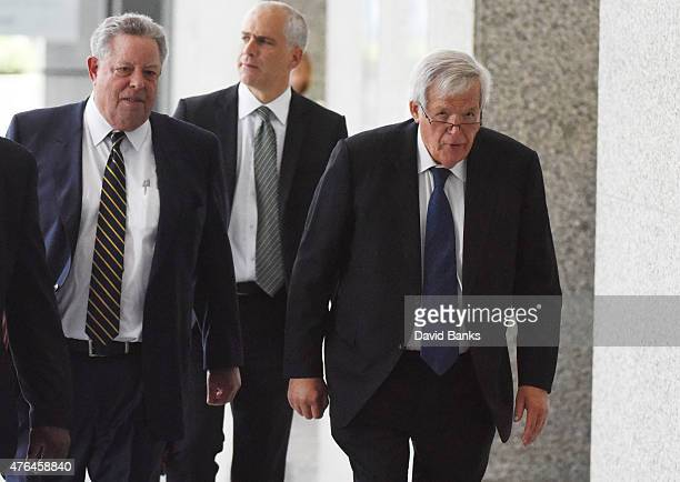Former Republican Speaker of the House Dennis Hastert leaves his arraignment with his attorneys Thomas Green and John Gallo at the Dirksen Federal...