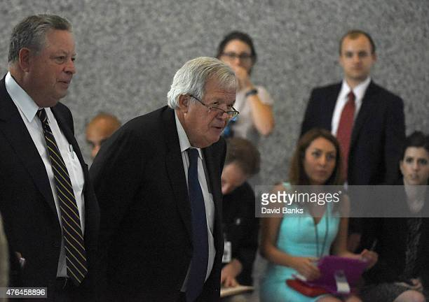Former Republican Speaker of the House Dennis Hastert leaves his arraignment with his attorney Thomas Green at the Dirksen Federal Courthouse on June...