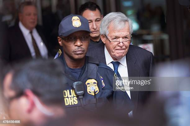Former Republican Speaker of the House Dennis Hastert leaves the Dirksen Federal Courthouse following his arraignment on June 9 2015 in Chicago...