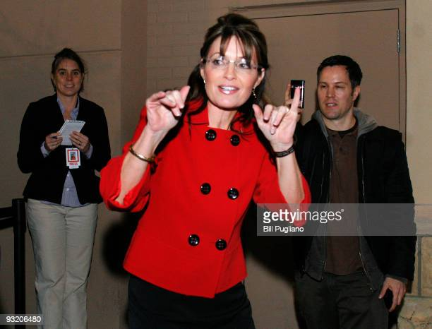 Former Republican vice presidential candidate and Alaska Governor Sarah Palin arrives at a book signing event for her new book 'Going Rogue' at a...
