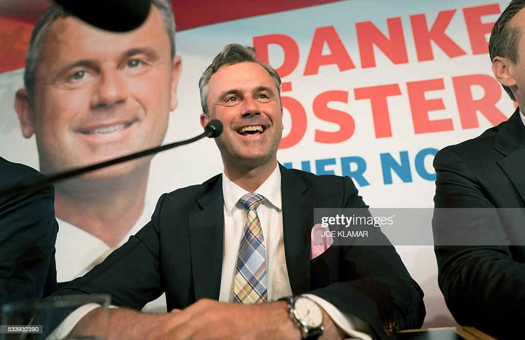 Former right-wing Austrian Freedom Party (FPOe) presidential candidate Norbert Hofer attends a news conference in Vienna, on May 24, 2016. Hofer the previous day was narrowly defeated by Austrian President-elect Alexander Van der Bellen, who had won the presidential elections run-off over Hofer by just a few thousands of votes. / AFP / JOE