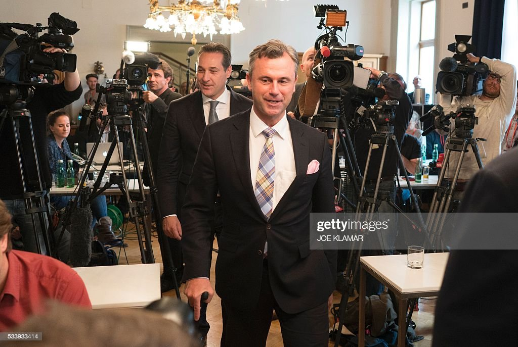 Former right-wing Austrian Freedom Party (FPOe) presidential candidate Norbert Hofer arrives for a news conference in Vienna, Austria, on May 24, 2016. Hofer the previous day was narrowly defeated by Austrian President-elect Alexander Van der Bellen, who had won the presidential elections run-off over Hofer by just a few thousands of votes. / AFP / JOE