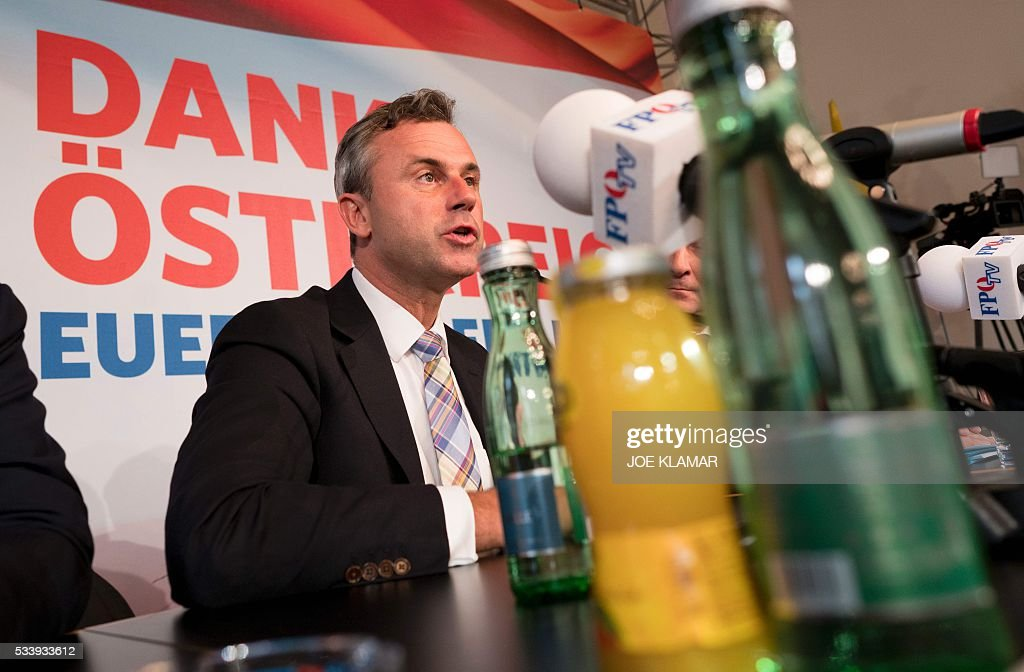 Former right-wing Austrian Freedom Party (FPOe) presidential candidate Norbert Hofer attends a news conference in Vienna, Austria, on May 24, 2016. Hofer the previous day was narrowly defeated by Austrian President-elect Alexander Van der Bellen, who had won the presidential elections run-off over Hofer by just a few thousands of votes. / AFP / JOE