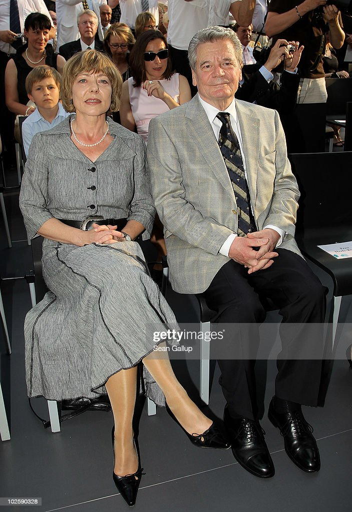 Former rival candidate for German president Joachim Gauck and Gauck's partner Daniela Schadt attend the President's annual summer garden party hosted by newly-elected German President Christian Wulff and his wife First Lady Bettina Wulff at Schloss Bellevue on July 2, 2010 in Berlin, Germany. The party was Wulff's first official event as president following his confirmation ceremony earlier in the day.